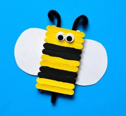 Cute popsicle stick bee craft