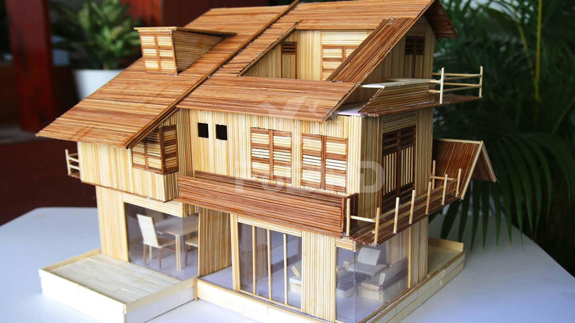Stick house with Brow-White bamboo sticks
