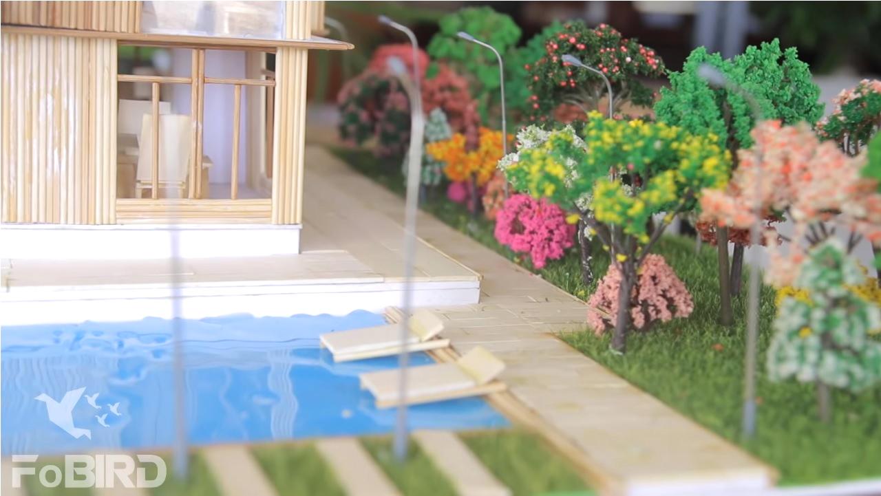 Model of garden villas using combo of model trees and model grass