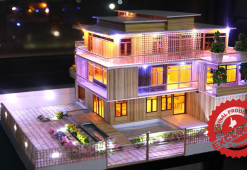 Miniature Modern Party Home with LED light Garden, Swimming Pool, model