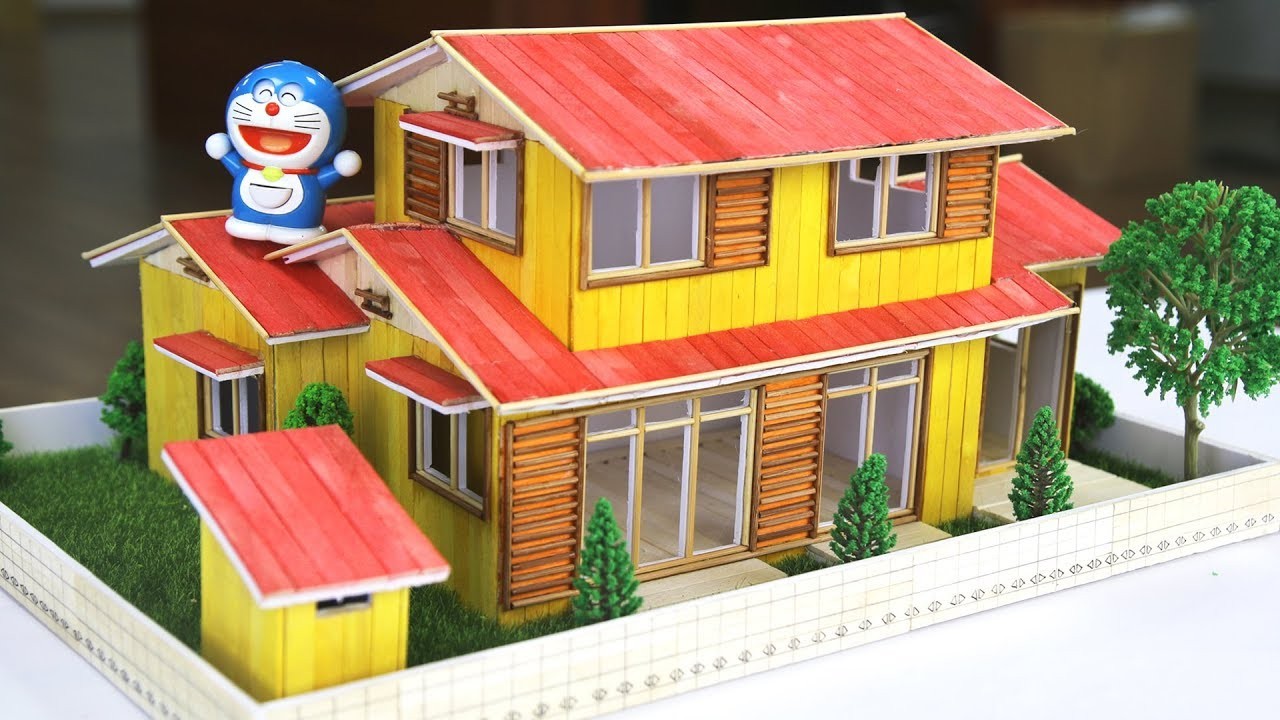 How to make a model of Nobita and Doraemon's house with colored popsicle sticks