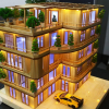 Popsicle stick house with LED light template